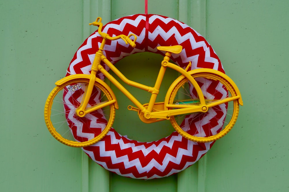 yellow bicycle miniature