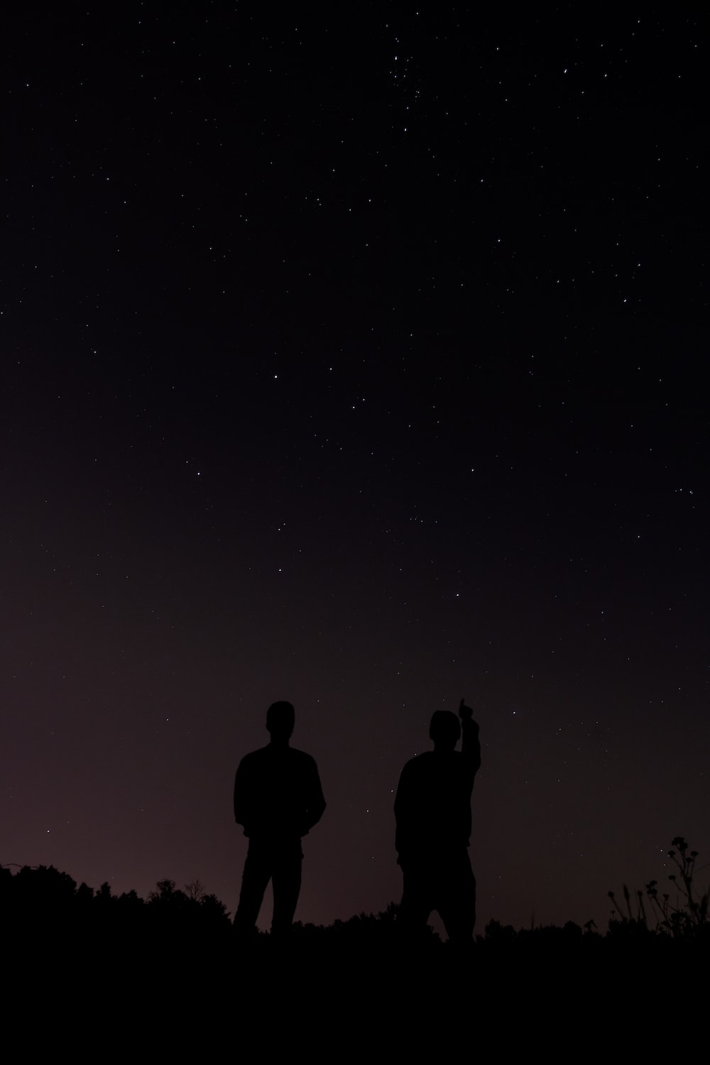 silhouette photography of two people during daytime
