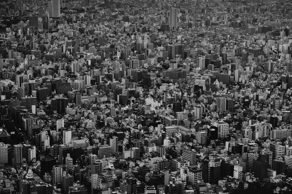 grayscale photo of cityscape
