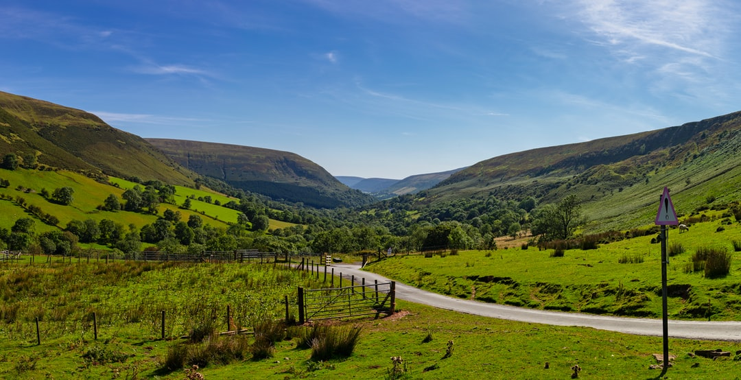Handheld pano.  PS still the best at stitching.  Warm afternoon early September.  Narrow lanes though.  Gospel pass South Wales