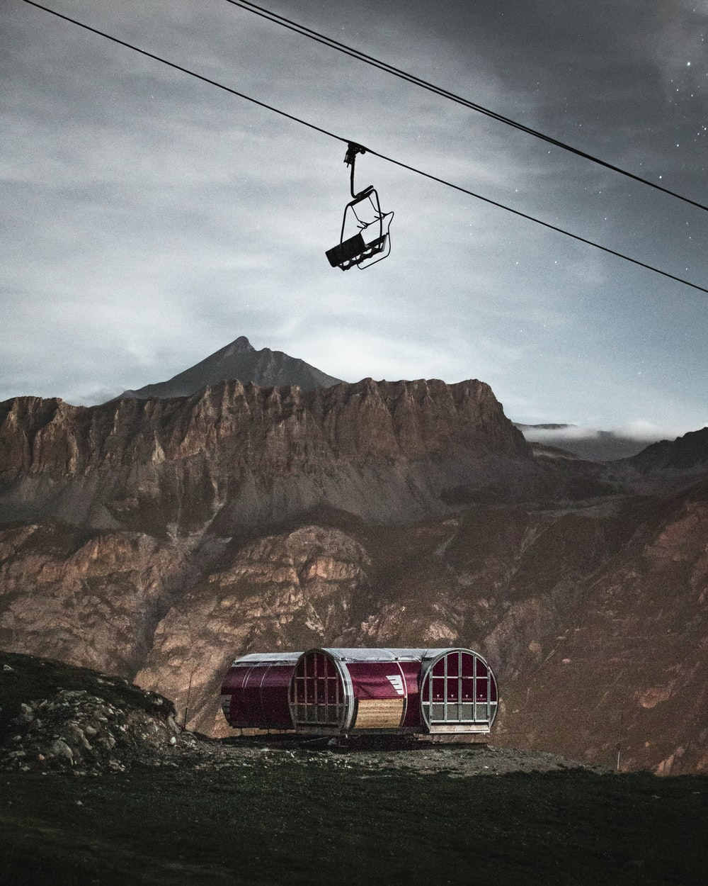 red building and cable car