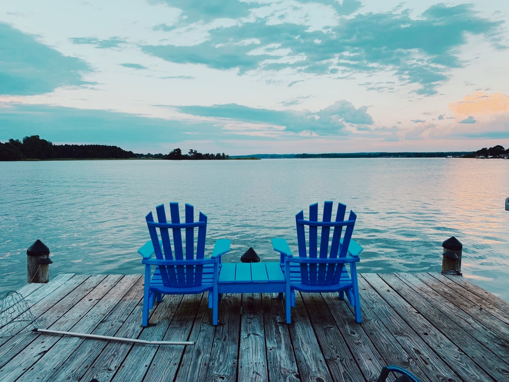 blue wooden adirondack chair