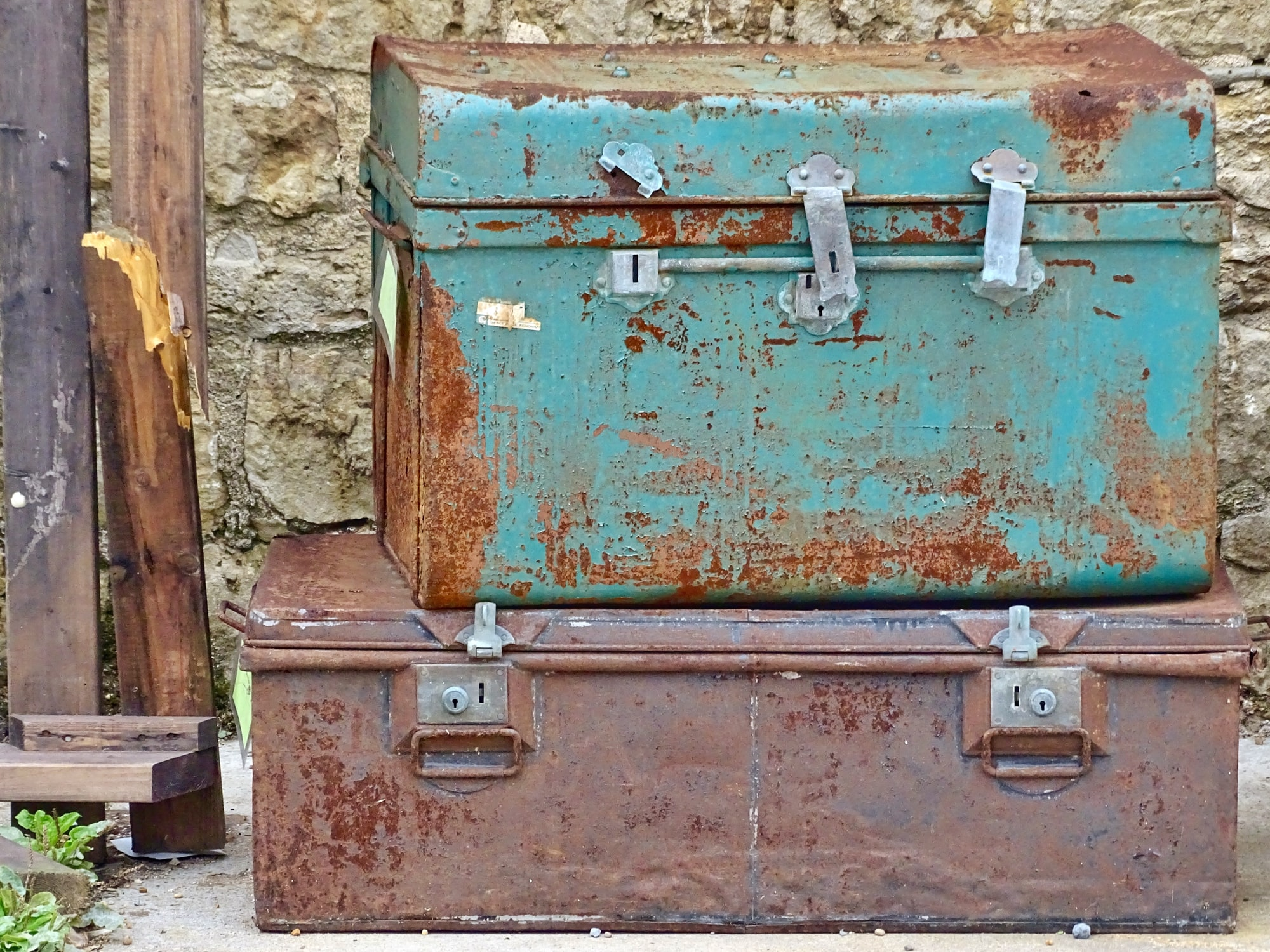 Days gone by. These suitcases have seen better days I feel.  However they still have a sense of style. I love the rustic look of them.