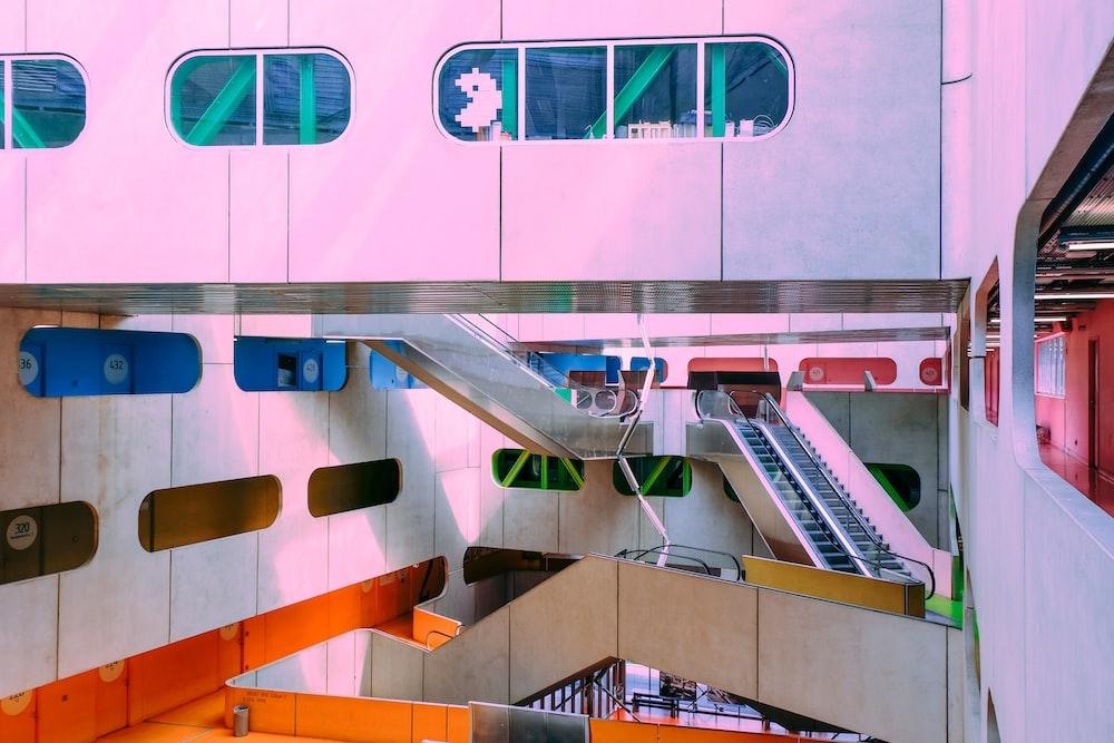 white and orange stairs