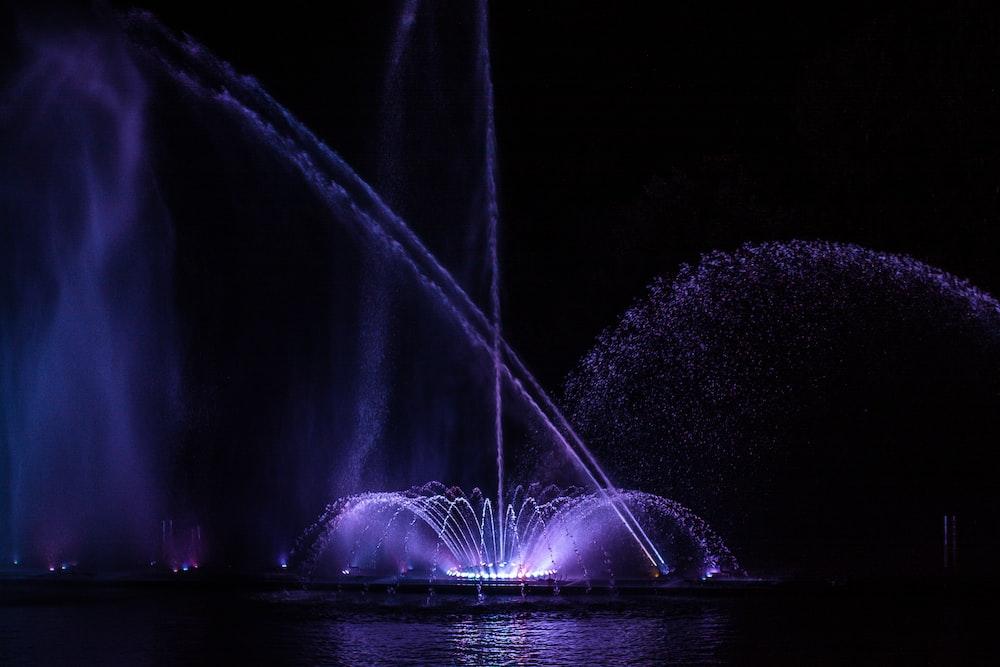 violet lit fountains