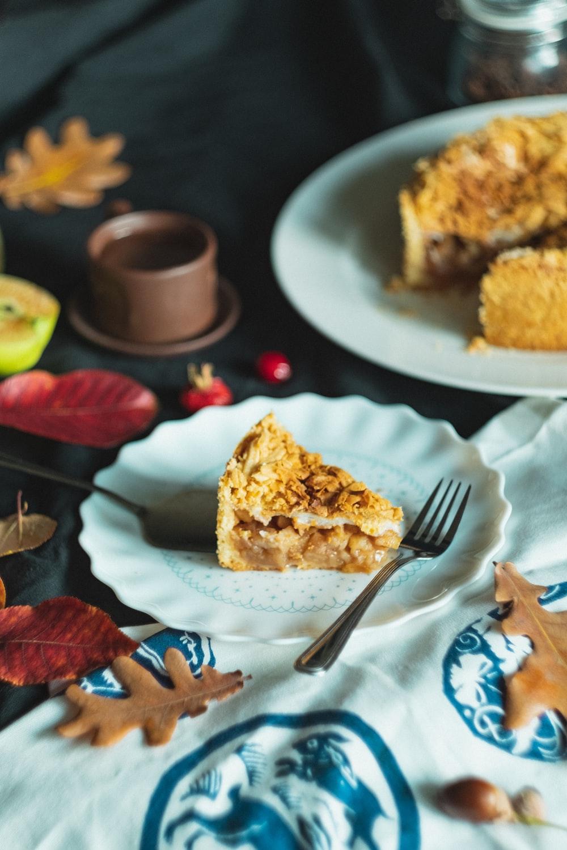 sliced of cake platter