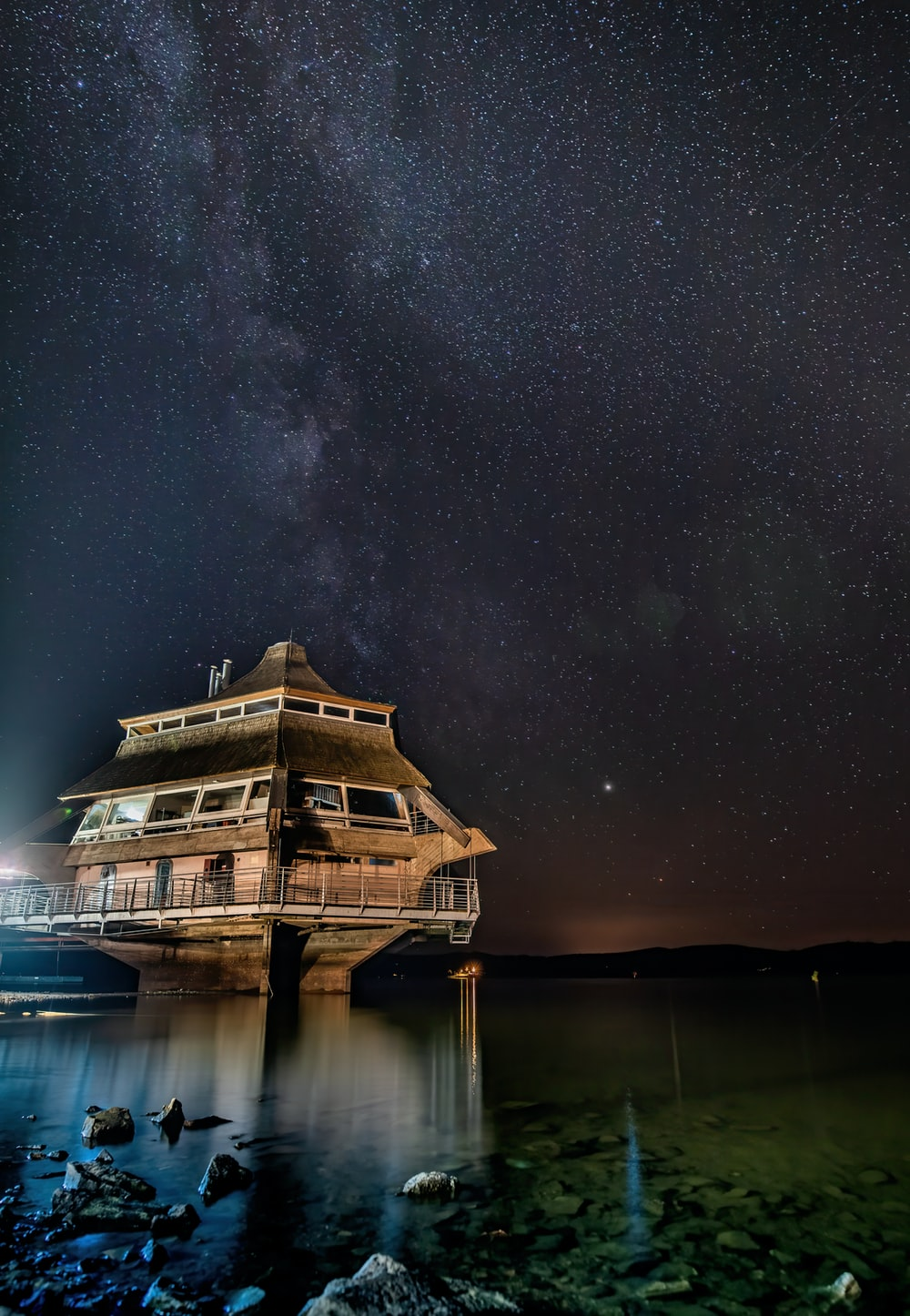 ship on ocean at night