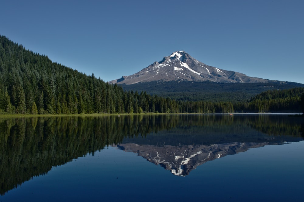 body of water with reflections of mountain and trees