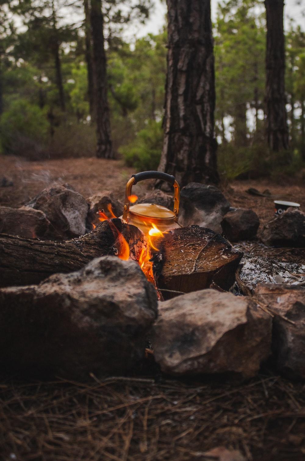 grey metal pot on burning fire