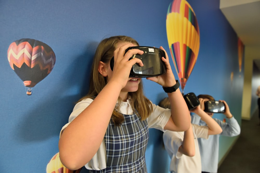 girl wearing VR headset