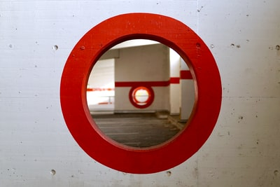 round red wall mirror