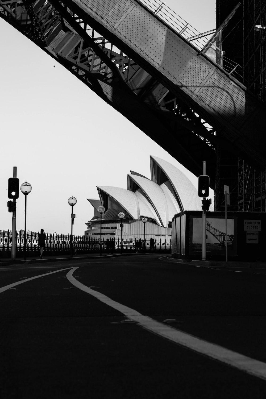 grayscale photo of Sydney Australia Opera House