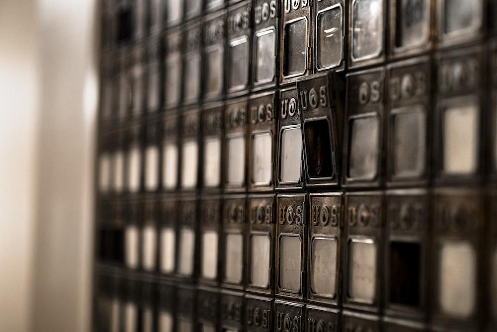 closeup photo of gray cabinet