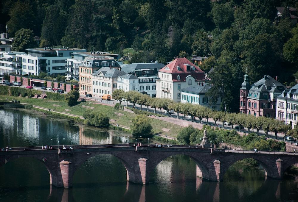 aerial photo of buildings near bridge during daytime