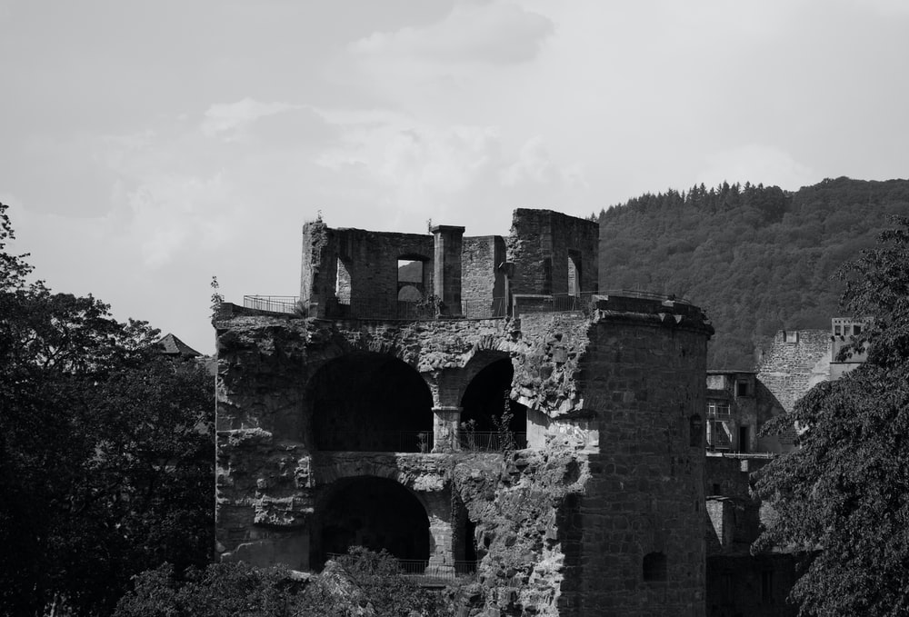 grayscale photo of ruins