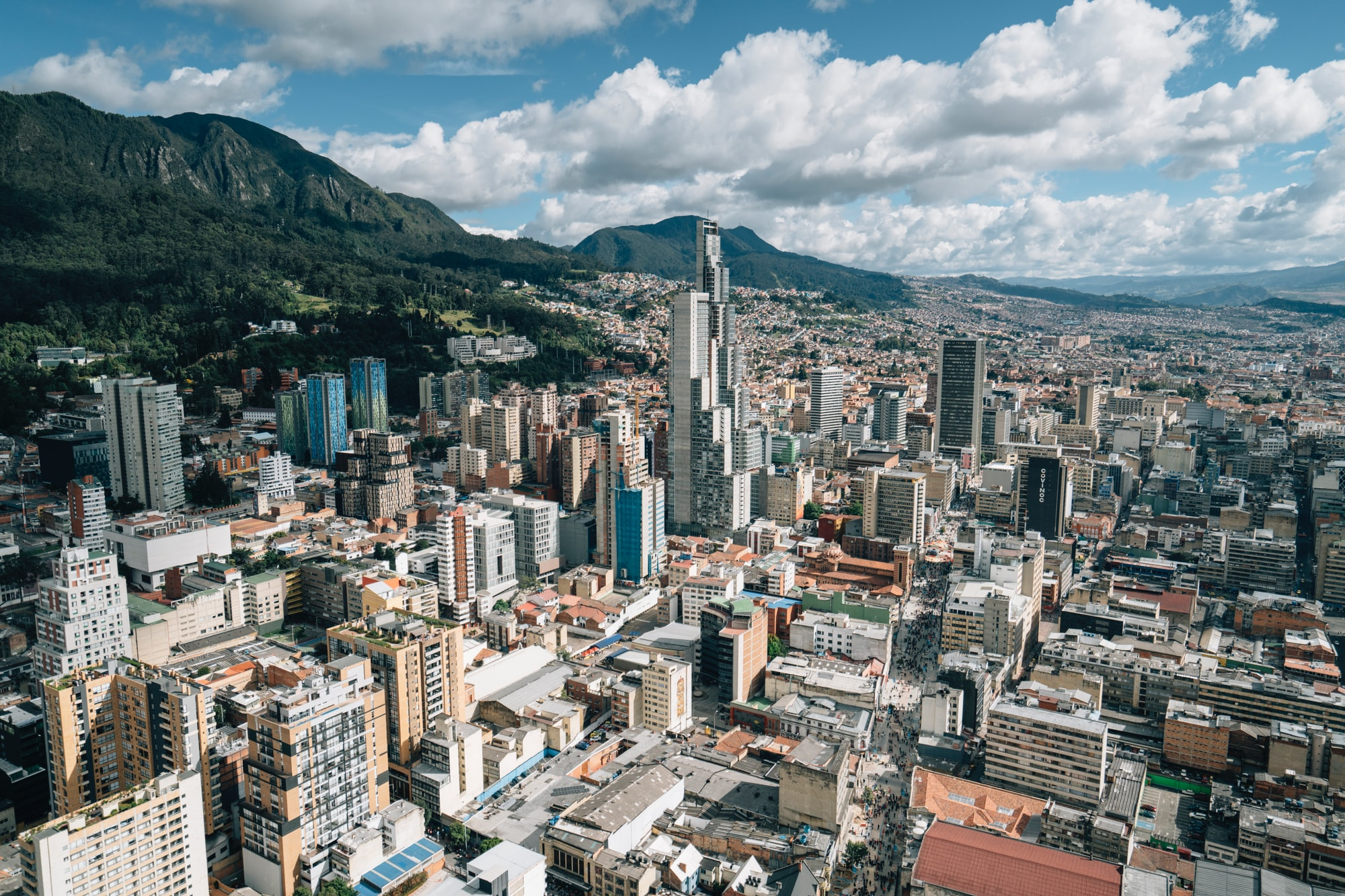 City of urban Bogota with high rise buildings, Colombia