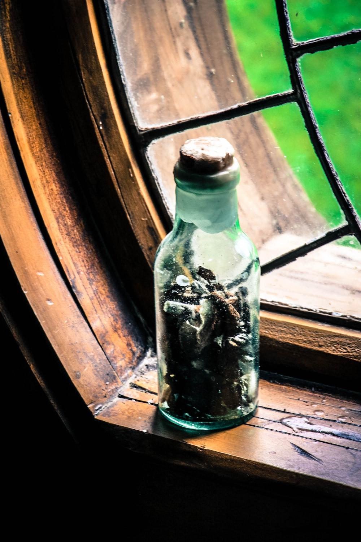 glass bottle on window