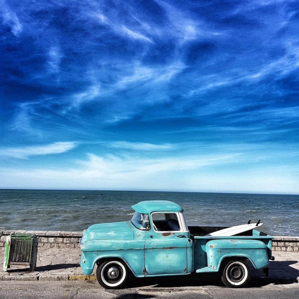 blue single cab pickup truck
