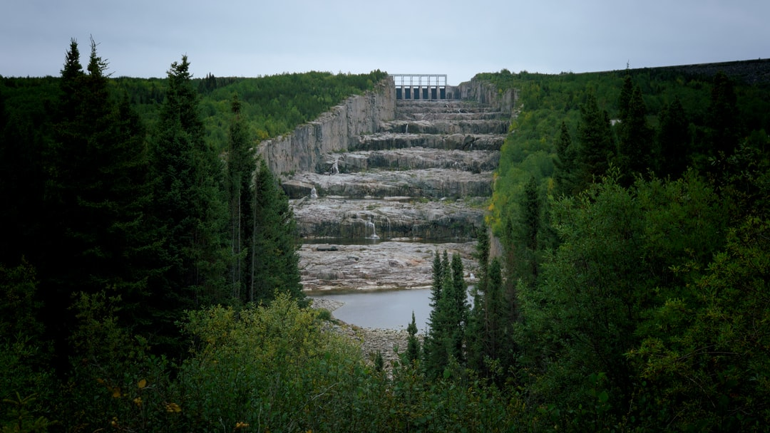"""The dam of La Grande 2 in Baie-James is a gigantic structure. The overflow also called the """"Giant's Staircase"""", is 1.5km long."""