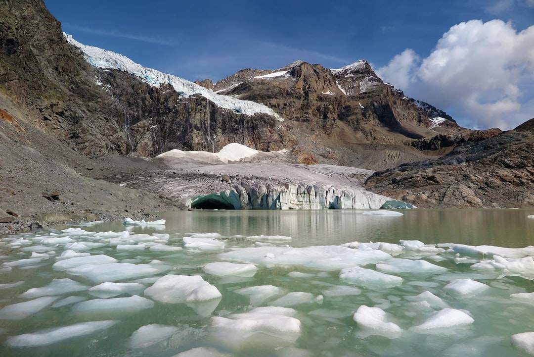 the slow and inexorable melting of the Fellaria glacier in Valmalenco, Italy.
