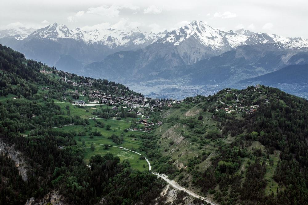 aerial photo of mountain