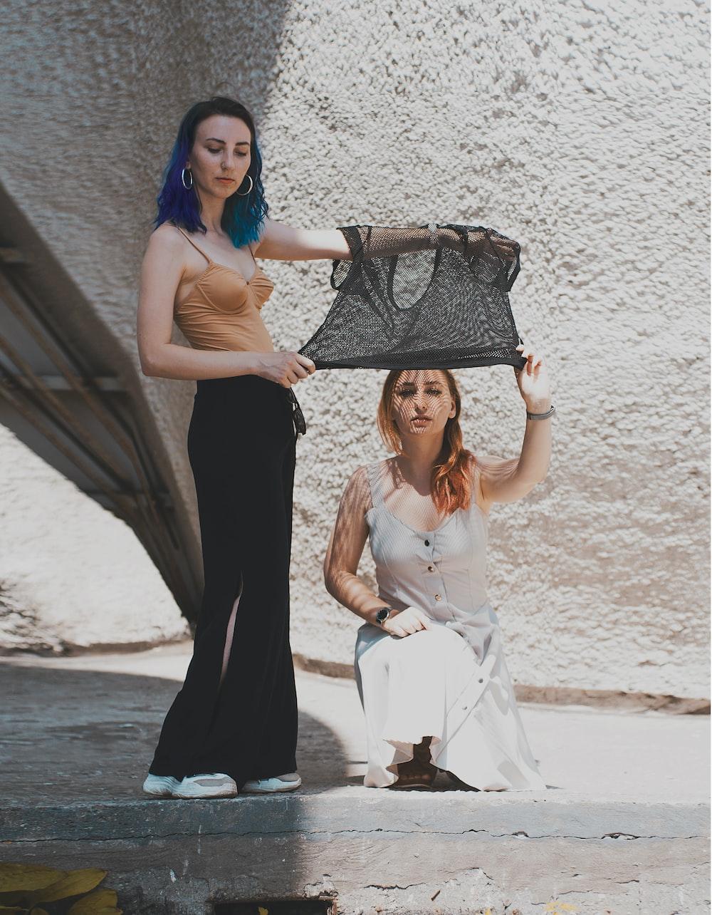 two women near wall