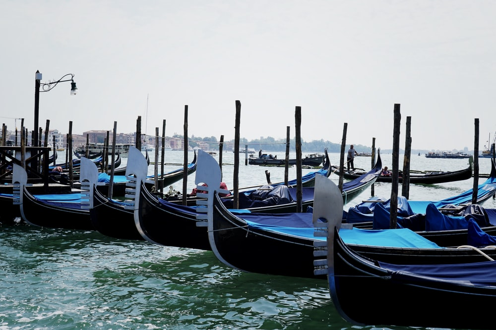 blue and black boats on sea during daytime