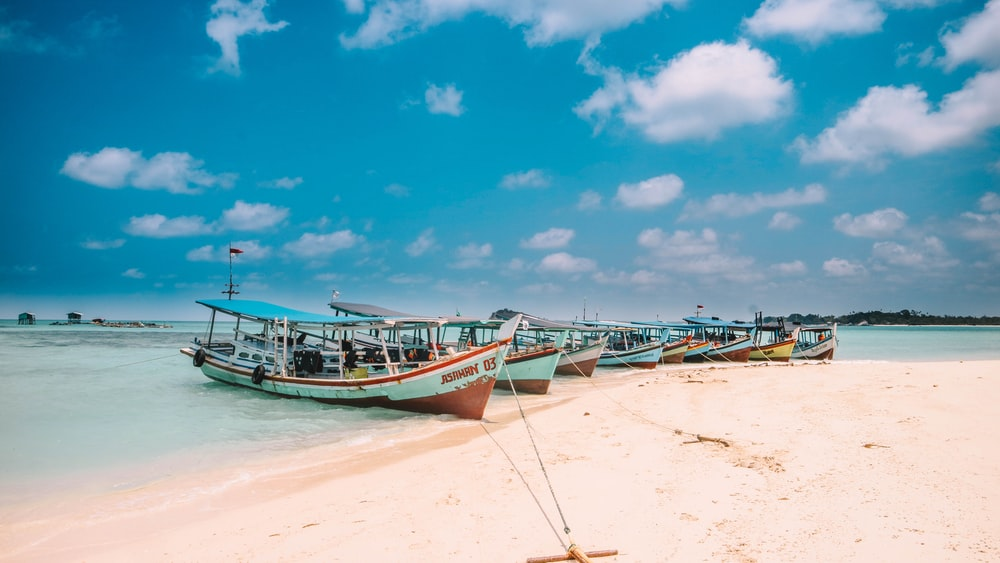 assorted-color boats on seashore during daytime