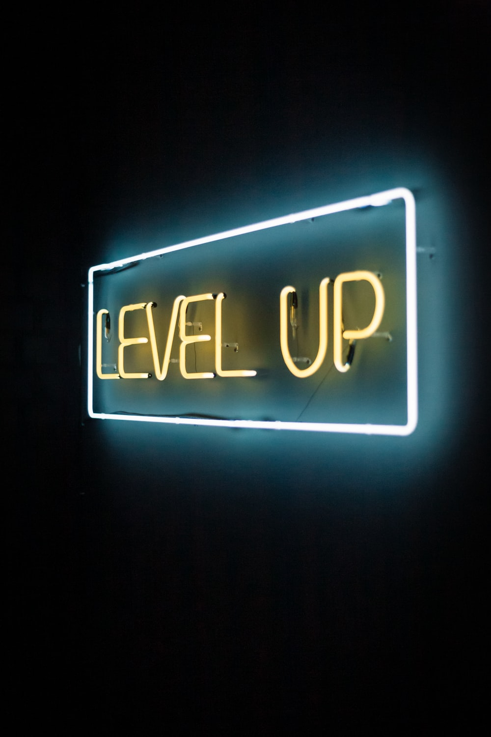 yellow and white level up LED lights