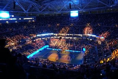 people inside tennis stadium us open tennis zoom background
