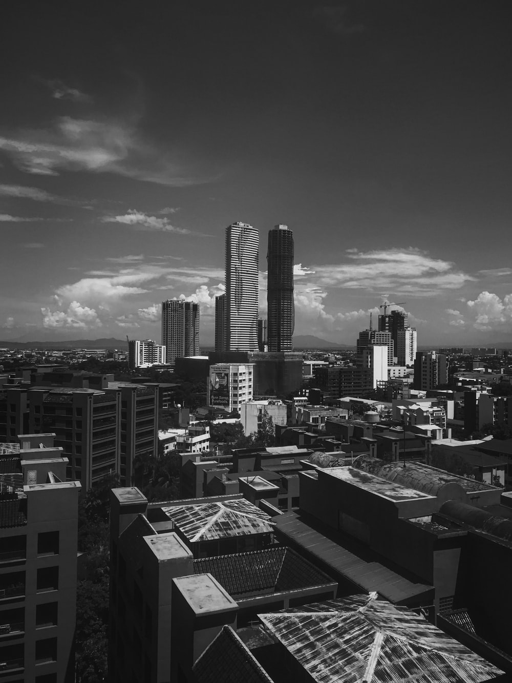 grayscale photography of city during daytime