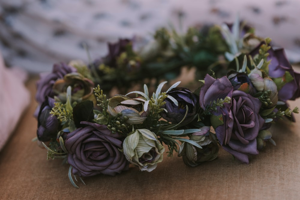 brown and grey flowers headdress