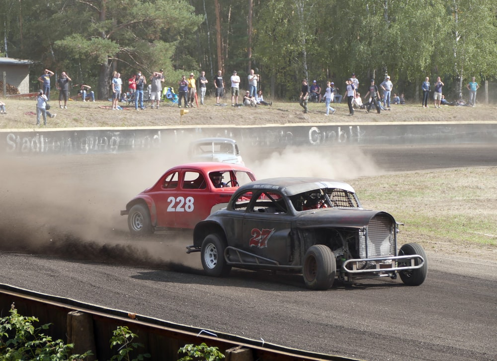two red and black cars