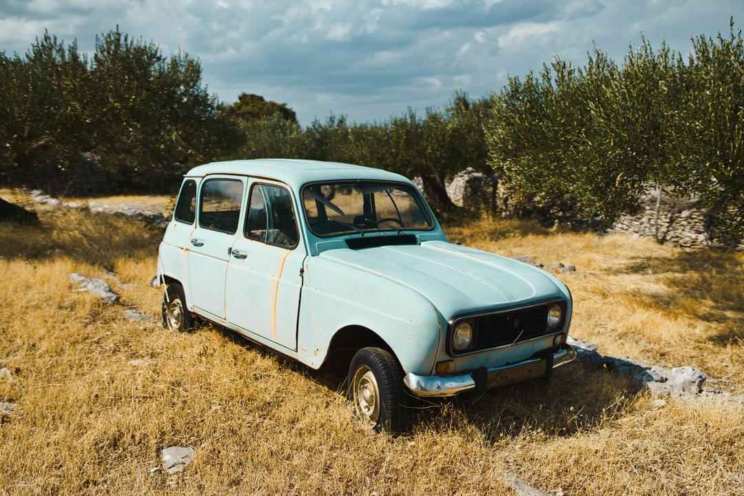 Vintage Renault car in an olive tree yard