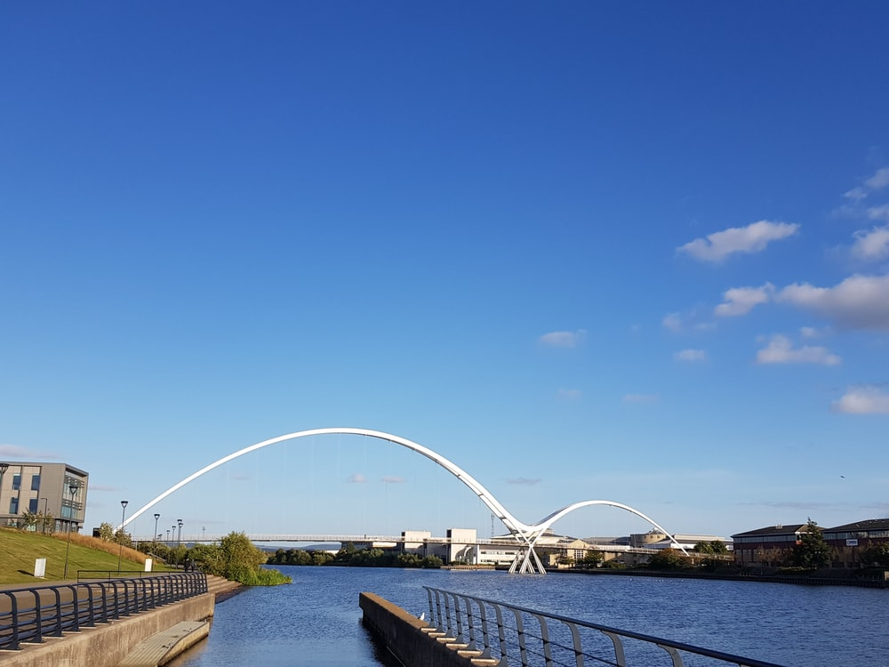 bridge above water near buildings