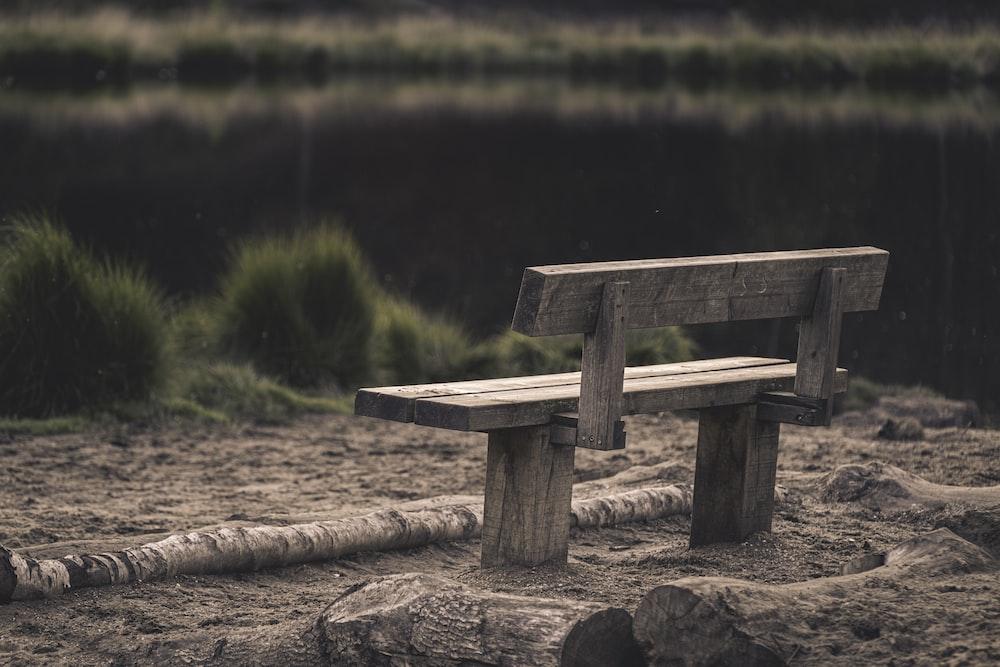 grey wooden bench