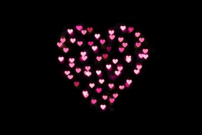 pink hearts lights on black background hearts teams background