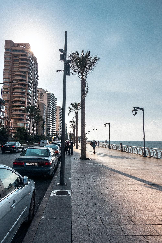vehicles beside sidewalk at daytime