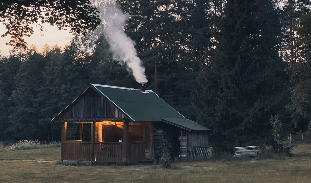 cabin with smoke coming out of chimney near trees