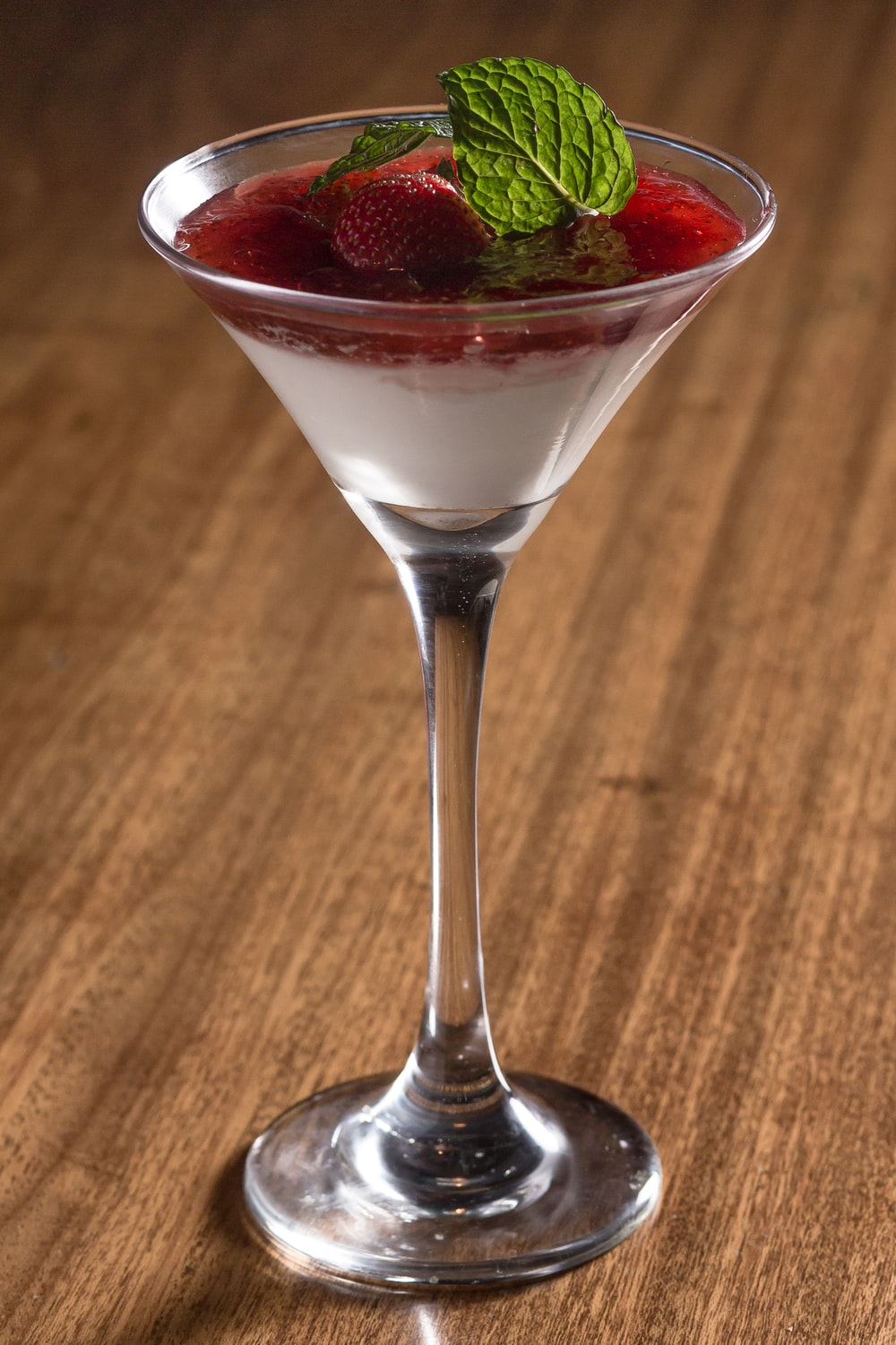 glass of martini with strawberries