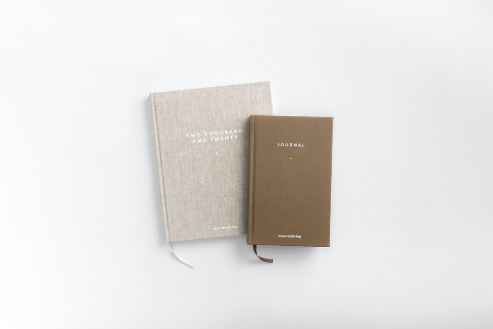 brown and gray books