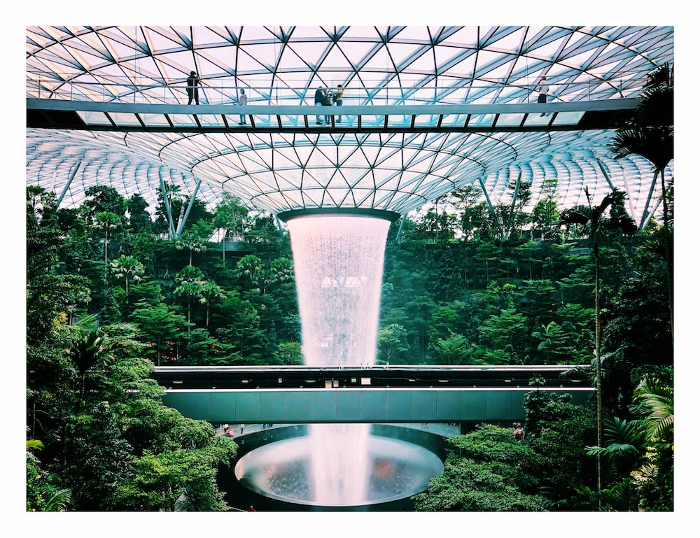 view of Shiseido Forest Valley and HSBC Rain Vortex at Changi Airport Singapore