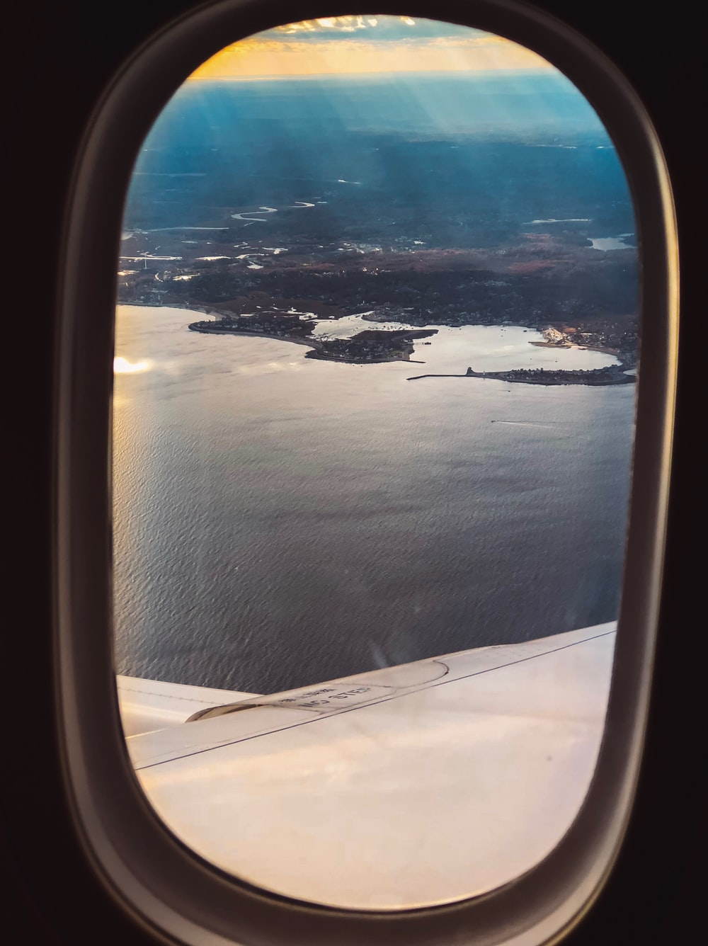 view of the ocean from an airplane window