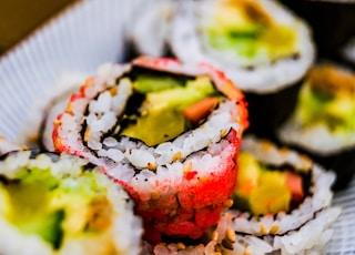 macro photography of sushi food