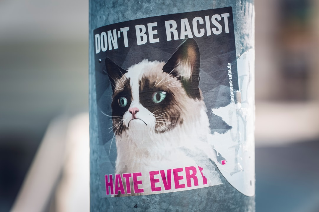 Don't be racist, hate everyone. Made with Canon 5d Mark III and loved analog lens, Leica APO Macro Elmarit-R 2.8 100mm (Year: 1993)