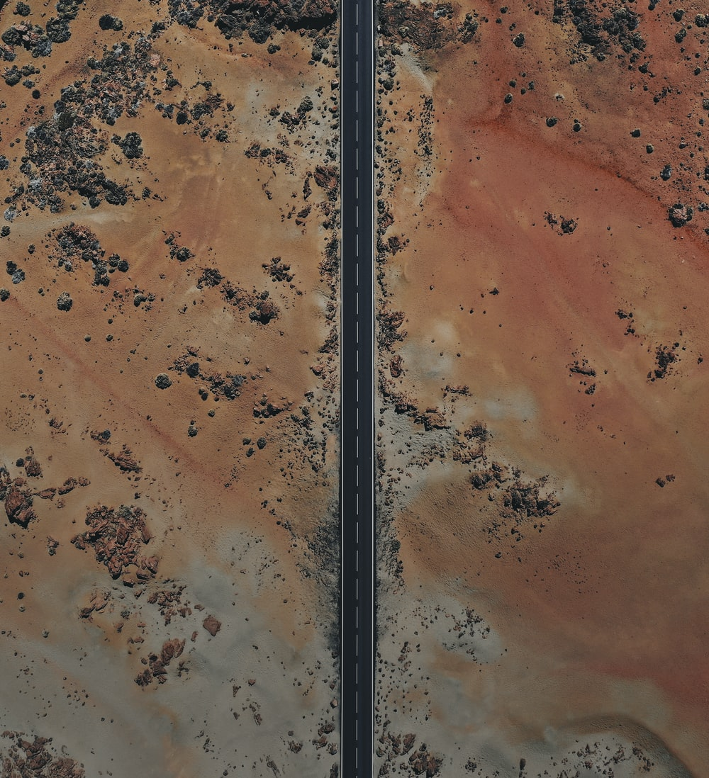 aerial view of road