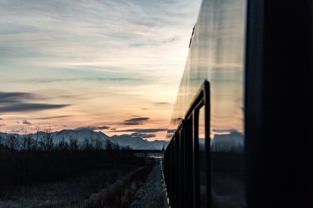 architectural photography of train