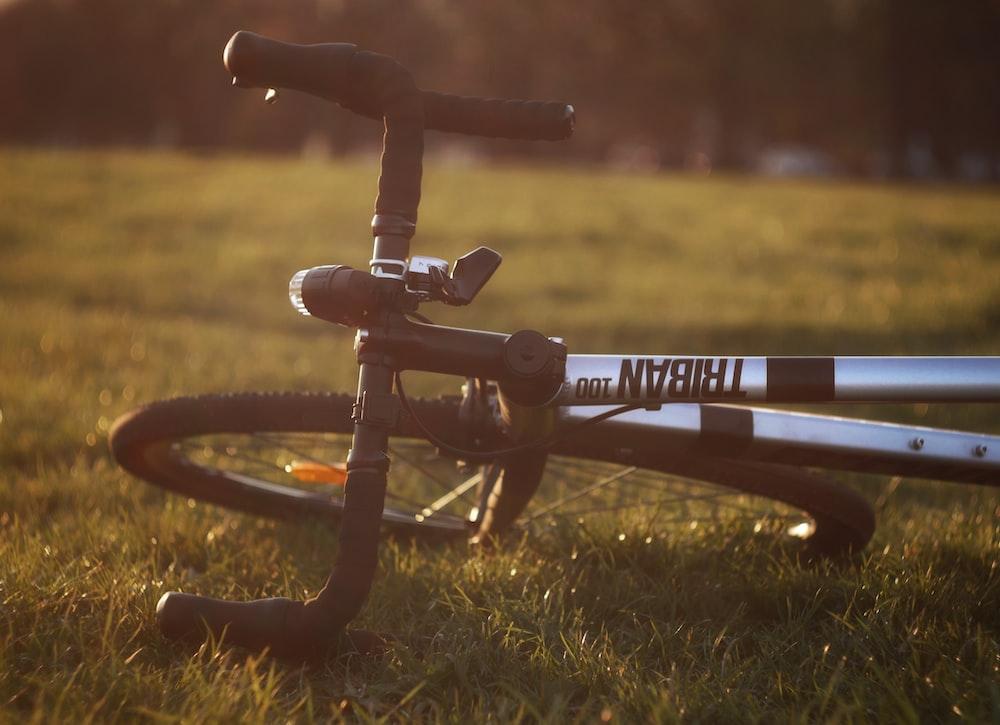 black and gray bike on grass