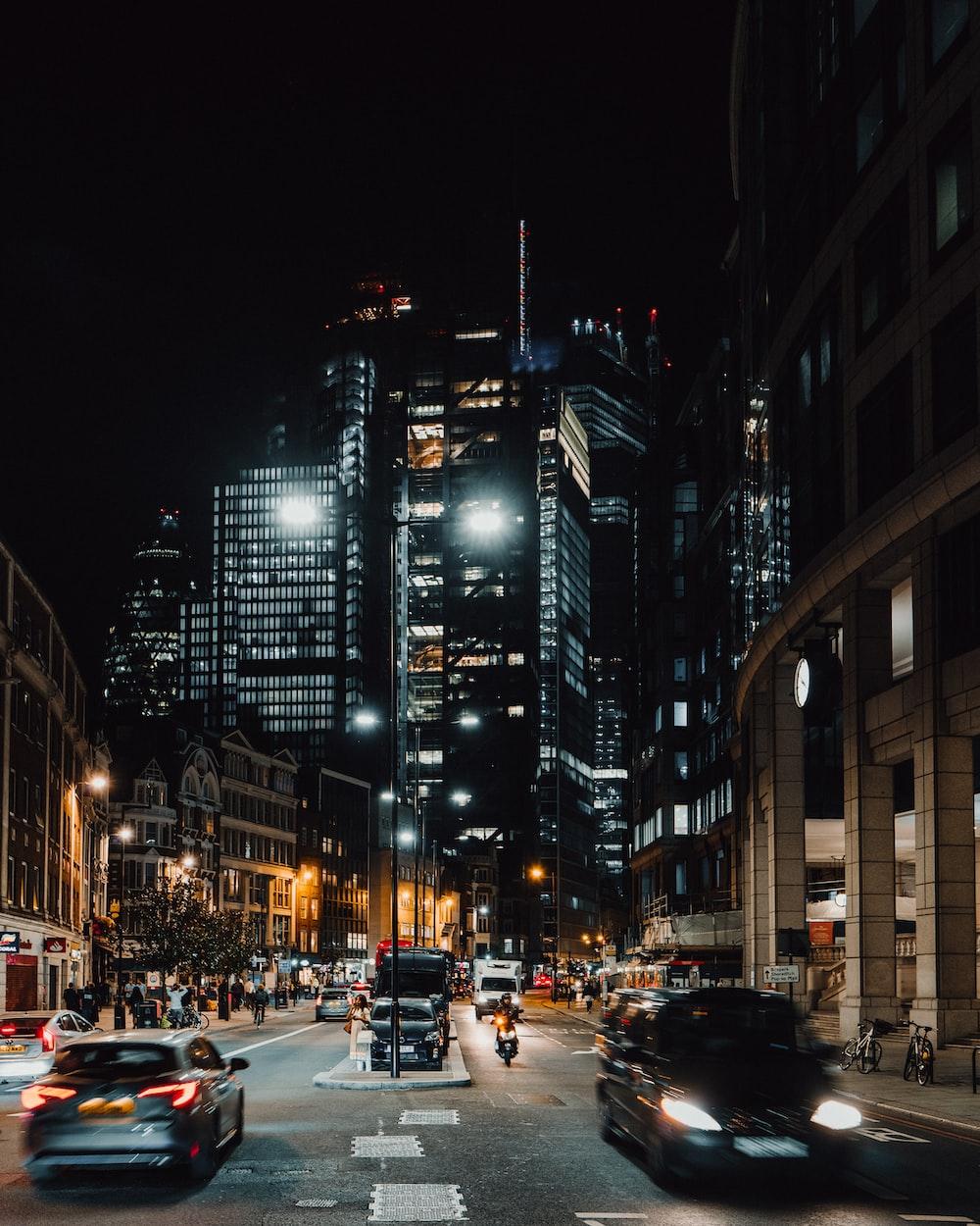cars near high-rise buildings
