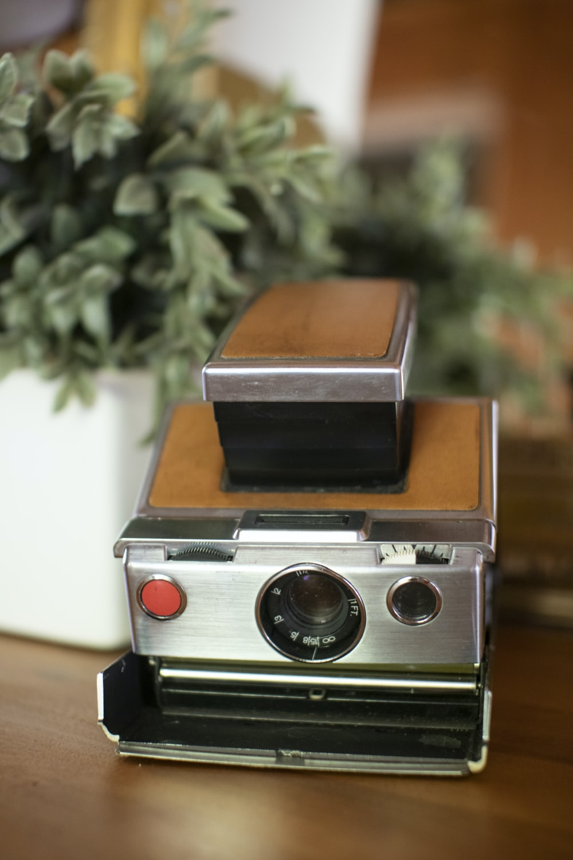 gray and brown vintage camera